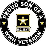 world war 2 medals - U.S. Army Proud Son a World War II Veteran Window Bumper Sticker Decal 3.8