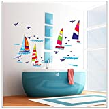 Sailboat Wall Decals Kids Boy Bedroom Baby Nursery Stickers Art Decor Room Decal