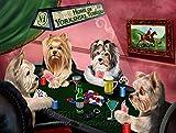 Home of Yorkshire Terrier 4 Dogs Playing Poker Art Portrait Print Woven Throw Sherpa Plush Fleece Blanket (37x57 Sherpa)