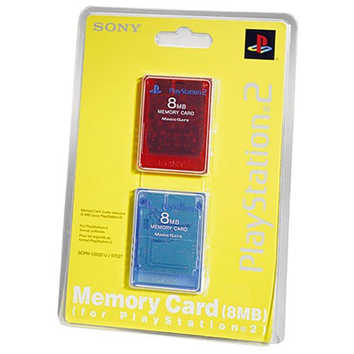 Playstation 2 Memory Card 8MB 2PK Red/Blue (Sony Ps2 8mb Memory Card)