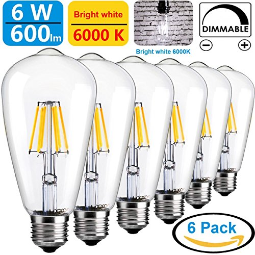 LUXON LED ST64 6W Vintage Edison light bulb steampunk E26 base in Pure White 6000k (Pack of 6)