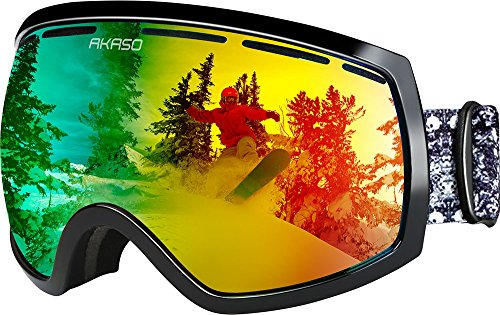 AKASO Mens Womens Ski Goggle for Winter Sports Snowboard Snowmobile TPU Frame Fits Medium-to-Large Face Double-layer Spherical REVO Mirrored Lenses Antifog 100% UV Protection Helmet Compatible