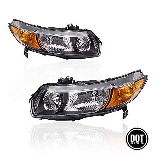 Replacement Headlights Assembly with Black Housing Amber Park Lens for 2006 2007 2008 2009 2010 2011 Honda Civic Coupe 2.0L OE Replacement for Driver and Passenger Side 33151SVBA01 33101SVBA02 (Housing Civic Headlights Black)