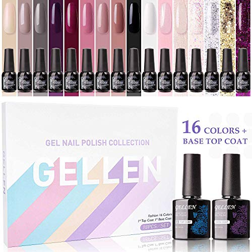 Gellen Gel Nail Polish Kit 16 Colors With Top Base Coat - Popular Autumn Winter Gel Colors Collection, Elegance Pure Shimmer Glitters UV Nail Gel Colors Manicure Set