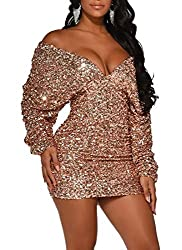 Gold Colour Sequin Dress Deep V Neck & Long Sleeve