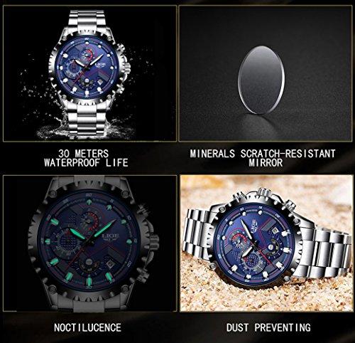 LIGE - Reloj de pulsera analógico para hombre, de acero inoxidable, con mecanismo de cuarzo y cronógrafo, resistente al agua, diseño moderno de lujo para ...