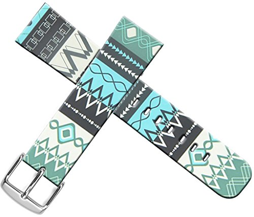 Strap Compatible for Apple Watch Series 4/3/2/1 44mm/42mm Sport - ENDIY Designer Leather Fashionable Band Replacement for Iwatch Women Sport Blue Ethnic Tribal Pattern ()