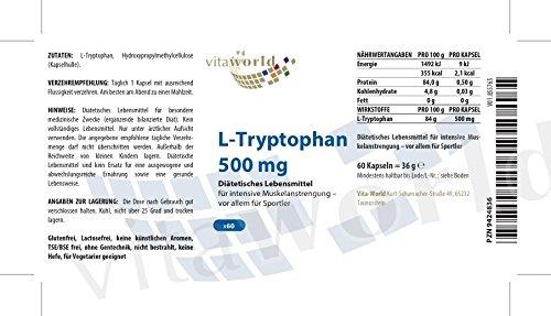 L-Triptófano 500mg 60 Cápsulas Vita World Farmacia Alemania - Serotonina - Aminoácidos: Amazon.es: Salud y cuidado personal