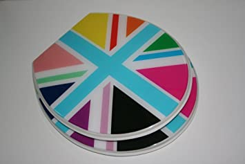 union jack toilet seat. FUNKY MULTI COLOURED COLOURFUL UNION JACK FLAG RESIN TOILET SEAT with  ADJUSTABLE CHROME PLATED METAL HINGES