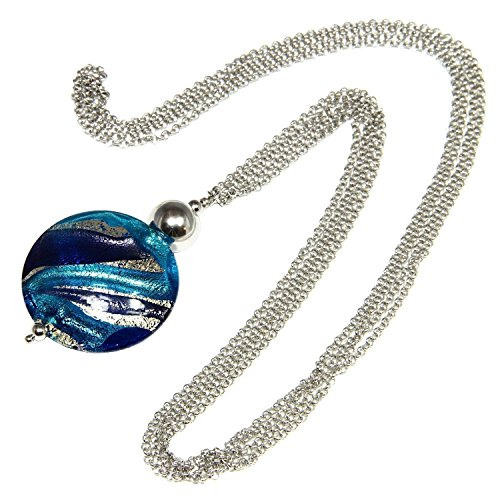 Necklace, woman in 925 silver rhodium plated, stainless steel and Murano glass enhanced by a white gold leaf made in Florence. CCR012/W07 by Sezione Aurea di Patrizia Blasucci
