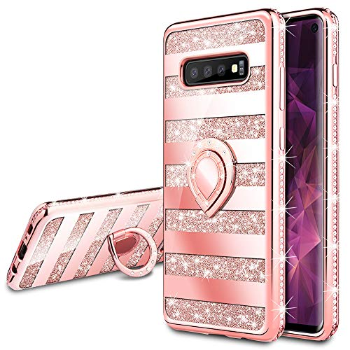 VEGO Galaxy S10 Case Glitter with Ring Holder Kickstand for Women Girls Bling Diamond Rhinestone Sparkly Bumper Shiny Cute Fashion Protective Case for Samsung Galaxy S10(Stripe Rose Gold)