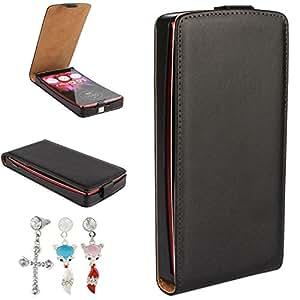 Mobilefashion Up-Down Funda de PU Cuero Case para LG G Flex2 H959 5.5 inch (Negro) + 1x Color al azar gratis tapón de polvo