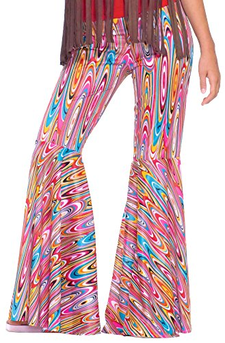 Forum Novelties Women's Generation Hippie Wild Swirl Bell-Bottom Costume Pants, Multi, One (Bell Bottoms Halloween Costume)