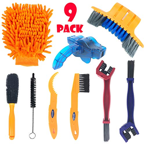 Bike Cleaning Tools Set (9 Pack), Bicycle Clean Brush Kit Suitable for Mountain, Road, City, Hybrid, BMX Bike and Folding Bike Chain/Crank/Sprcket/Tire Corner Rust Blot Dirt Clean | Durable/Practical