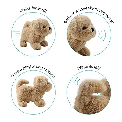 Vokodo Playful Teacup Puppy Walks Barks Sits And Wags Tail Interactive Dog Kids Soft Cuddly Electronic Pet Happy Friend Battery Operated Toy Animal Great Gift For Preschool Children Boy Girls Toddlers: Toys & Games