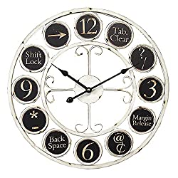 Essential Décor Entrada Collection Round Keyboard Icons Metal Clock, 17.7 by 1.5-Inch, White