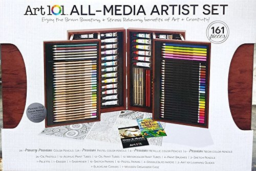 Art 101 All Media Artist Painting Drawing Set 162 Pieces Colored Pencils Gift by Art 101 USA