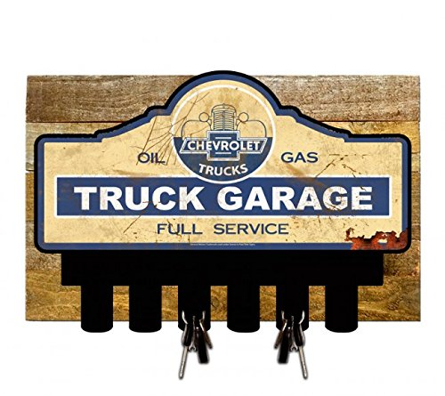 Vintage Signs Licensed Chevrolet Truck Garage Key Hanger Holder w/Wood Backing