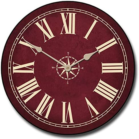 Nautical Burgandy Wall Clock, Available in 8 Sizes, Most Sizes Ship 2-3 Days, Whisper Quiet.
