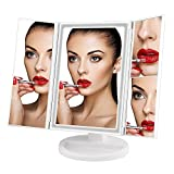 white makeup vanity without mirror Lighted Makeup Mirror, ELFINA Magnifying Compact Vanity Mirror, Desk Mirror with LED Cube Lights and Magnification