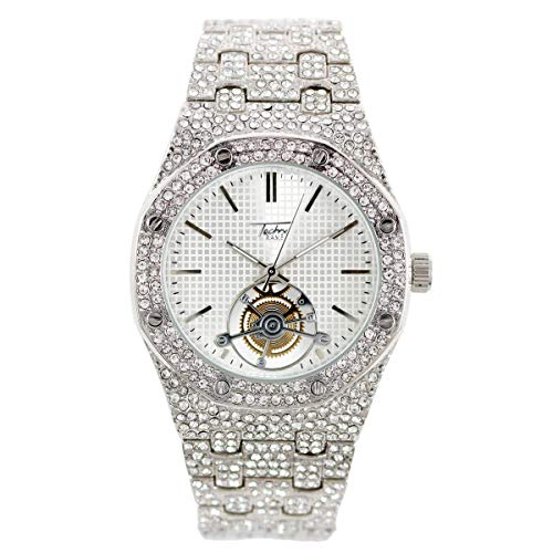 Men's Bling-ed Out Octagonal Shape Silver Watch with Simulated Diamonds on Bezel | Japan Movement | Analog Display - Silver (Watch With Ap Diamonds)