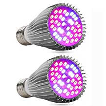 [2PACK] LED Grow Light Bulb Full Spectrum, EnerEco 30W Grow Plant Light Lamp for Flowering Lighting Indoor Plant Garden Hydroponic Greenhouse Hydroponic Aquatic, E27 E26 Base SMD 5730 Chip