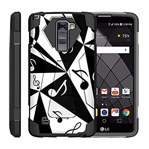 TurtleArmor   LG Stylus 2 Plus Case   LG Stylo 2 Plus Case [Dynamic Shell] Absorber Impact Shock Shell Cover Protector Fitted Silicone Hard Kickstand Music Design - Black and White Music (Lg Dynamic 2 Phone Case Camo)