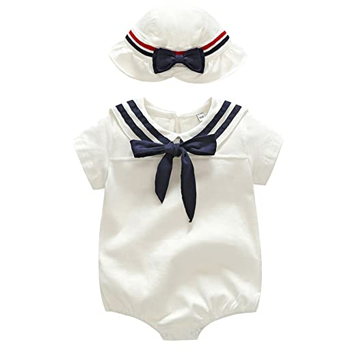 cff2a2605 Mornyray Summer Baby Girls Boys White Nautical Sailor Romper Suit Outfit  with Hat Sets Size 3