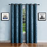 dark grey curtains sale Warm Home Designs 1 Pair (2 Panels) of Extra Long Blue Teal Insulated Thermal Blackout Curtains with Embossed Textured Flower Pattern. Each Window Panel Is 38