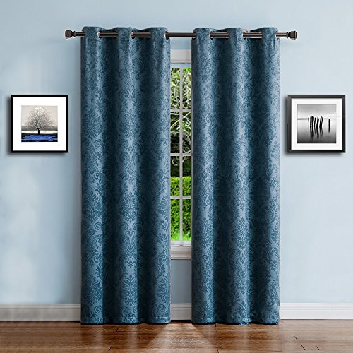 Warm Home Designs 1 Pair 2 Panels Of Blue Teal Insulated Thermal Blackout Curtains With Embossed Textured Flower Pattern Each Grommet Top Window Panel Is