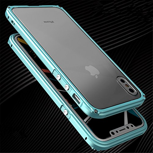 for iPhone Xs/X,DAYJOY Unique Design Guardian Series Aluminum Metal Shockproof Bumper Frame Case with Hard Plastic Back Cover for iPhone X/XS(Blue)