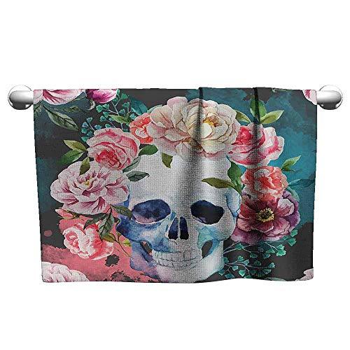 Modern Hand Towels Skulls Decorations Collection Big Flowers and Skull Design Skeletons All Saints Day Halloween Image Custom Bath Towel 35 x 12 inch Soft Purple Pink Green -