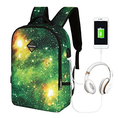 Running Tiger - Runningtiger Unique Galaxy Sky Print Men Women Fashion School Laptop Backpacks With Usb Charging Port & earphone / headphone hole (A1061)