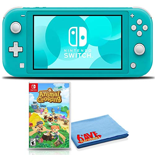 Nintendo Switch Lite (Turquoise) Console Bundle with Animal Crossing: New Horizons and 6Ave Cleaning Cloth