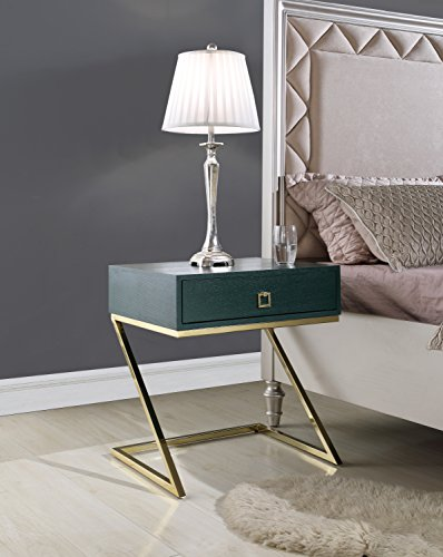 (Iconic Home FST2968-AN Cordoba Nightstand Side Table, Green)