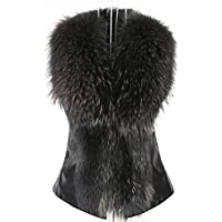 Minisoya Womens Vest Jacket Sleeveless Winter Warm Waistcoat Gilet Bow Casual Furry Overcoat Outwear Coat