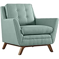 Modway Beguile Mid-Century Modern Armchair With Upholstered Fabric In Laguna