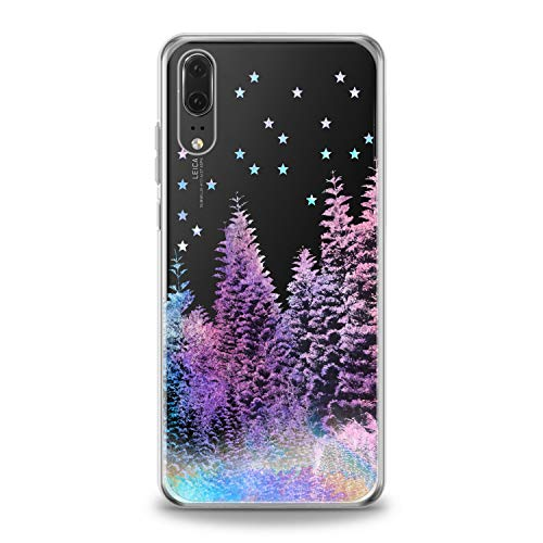(Lex Altern TPU Case for Huawei P30 Pro P20 Lite P10 P9 Plus Mate 20 Northern Lights Colorful Forest Pattern Phone Rainbow Cover Silicone Print Beautiful Girl Design Transparent Purple Woods Stars)