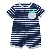 Kidsform Baby Boy Romper Summer Short Sleeve Bodysuit Sleep and Play Jumpsuit Animal Outfit Blue Stripe 9-12M