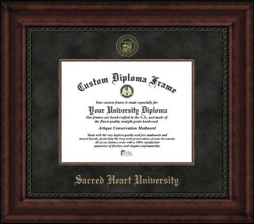(Laminated Visuals Sacred Heart University Pioneers - Embossed Seal - Suede Mat - Mahogany - Diploma Frame)