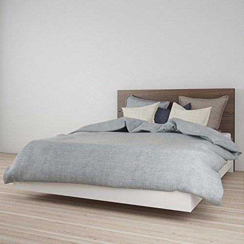 Nexera Queen Size Platform Bed Bundle 400897 White and Walnu