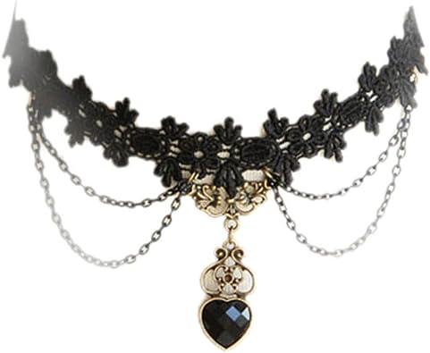 Women Lace Leather Choker Charm Necklace Vintage Choker Punk Retro Black Collar