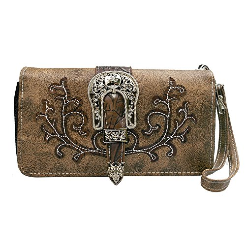 La Dearchuu Tooled Laser Cut PU Leather Wristlet Wallet Credit Card Phone Holder Western Purse ()