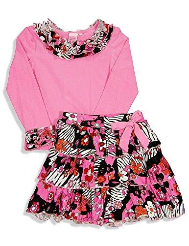 Skirt Girls Lipstik - Lipstik Girls' - Big Girls' Long Sleeve Skirt Set, Pink 23976-4
