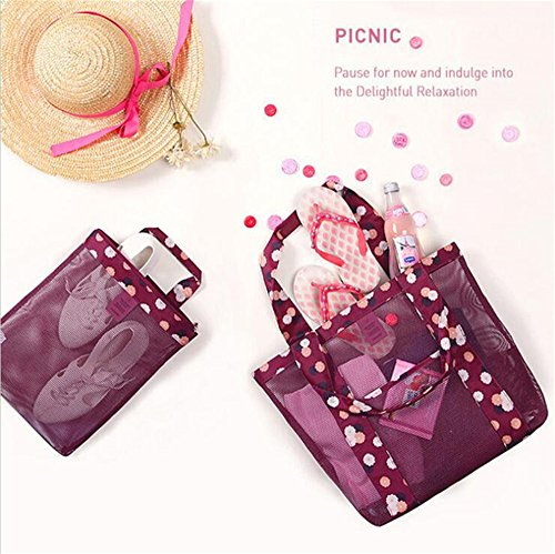 Mesh Portable Bags Girl's Underwear Beach for Multi Toiletry Organizer Shoulder Red Storage Storage Fashion Zipper Bag Pocket 2PCs Women Red Pouch Bag Purpose File tvTq5wn