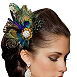 Changeshopping(TM)Rhinestones Peacock Feather Bridal Wedding Hair Clip Pin Head Hairpin