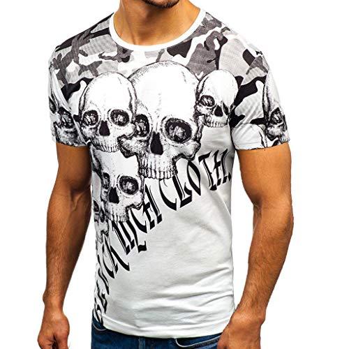 1b98fbf2 Men's Summer Casual Fashion Daily Printed Skull Short Sleeve Shirt Top  Blouse White