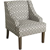 Kinfine Finley Swoop Arms Accent Chair, Grey and Cream Trellis