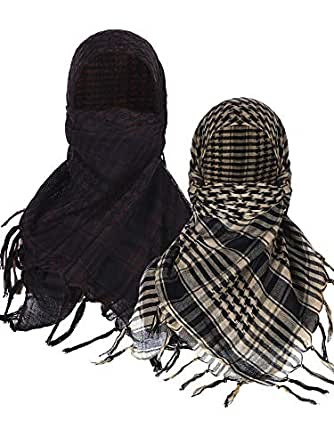 Boao 2 Pieces Keffiyeh Shemagh Arab Scarf Wrap Tactical Desert Scarf Cotton Head Wrap (Color Set 2)