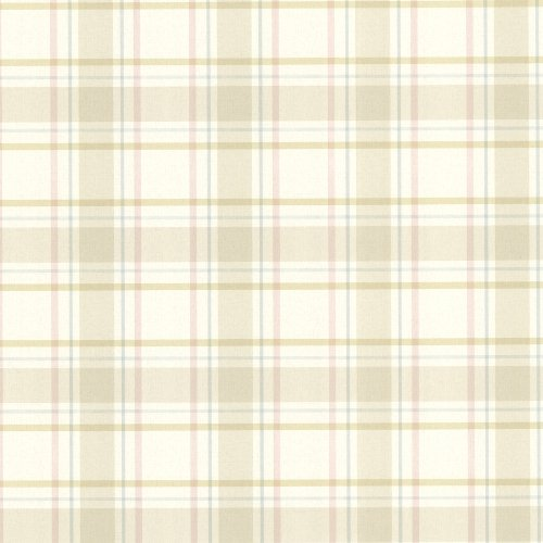(Beacon House 302-66842 Grand Plaid Plaid Wallpaper, Beige)